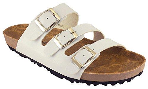 Sandalo Scorrevole A Piattaforma Piatta Con Fibbia 3 Fibbie Per Cambridge, Bianco