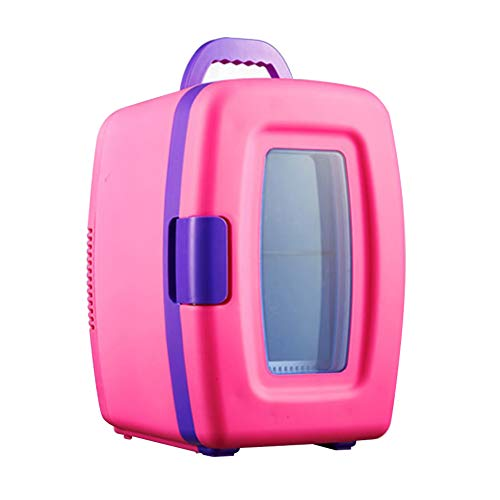 Pink/Blue Portable Mini Fridge for Bedroom Compact Personal Cooler & Warmer Small Freezer with Handle, 12V/220V, 100% Fluorine-Free