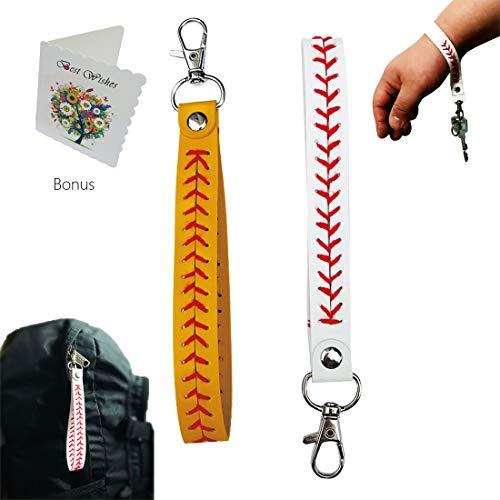 (Leather Baseball Wrist Lanyards Key Holder(2 Pack))