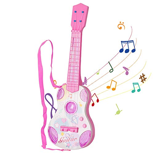 M SANMERSEN Kids Toy Guitar, Pink Guitar for Kids 4 Strings Children Musical Instruments, Mini Ukulele Classical Educational Learning Guitar Toy for Toddler Beginner(Pink)