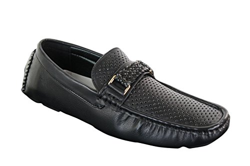 Mens Black Blue Brown Loafers Driving Shoes Perforated Leather PU Buckle - Black, Black