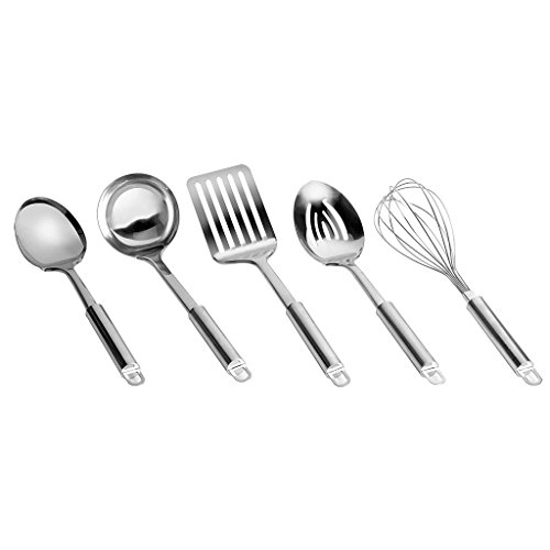 Range Kleen CW3013R, Stainless Steel 5 Pc. Set: Ladle, Slotted Spatula, Spoon, Slotted Spoon and Whisk