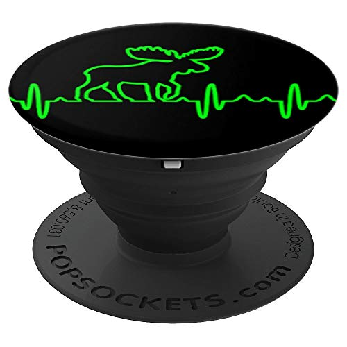 Heartbeat Moose Stag Black Base - PopSockets Grip and Stand for Phones and Tablets