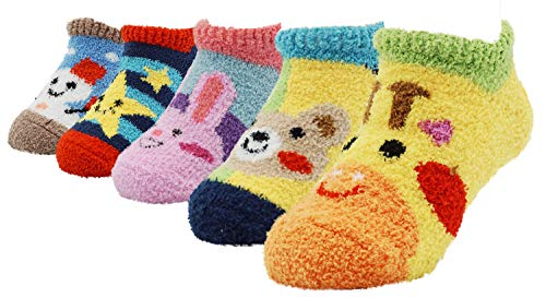 (Toddler Baby Kids Fuzzy Thick Sock Anti Slip Skid Sock with Lovely Star or Snowman, Pack of 5 pairs)