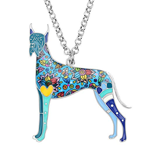 (Bonsny Alloy Enamel Great Dane Dog Necklace Chain Pendant Love Pets Jewelry for Women Girls Gift (Blue))