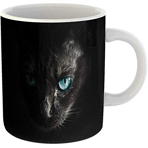 Coffee Cups Tea Mug Gift 11 Ounces Funny Ceramic Green Eyes Halloween Cat Scared Eye Scary in Dark Yellow Black Gifts For Family Friends Coworkers Boss Mug]()