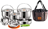 CAMPINGMOON Stainless Steel Outdoor Camping Nesting Mess Kit Cookware Set Pots Pans with Storage Carrying Bag