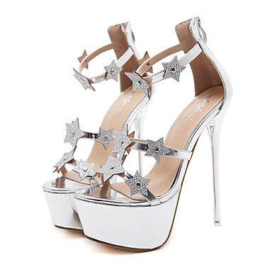 Amp; Fschooly Sandales Chaussures Us5 Casual Confort Femme Printemps Party Argent Talons Uk3 Cn34 cuir Et Soire Argent Aiguilles Pour Nouveaut Eu35 Bottes amp; Simili Noir rarzqCw