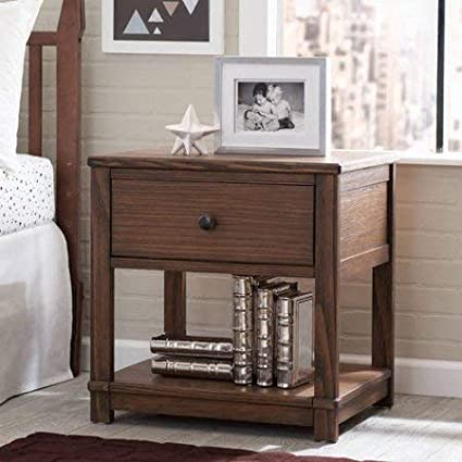 Amazon.com: Nightstand with Drawer and Shelf, Bedroom Furniture ...