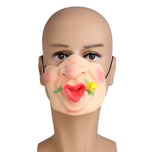 Grim Creeper Costume (EA-STONE Novelty Latex Rubber Creepy Halloween Costume Party Grimace Half Face Mask -Flower)