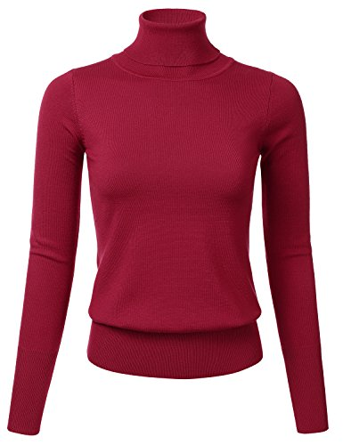 FLORIA Womens Stretch Knit Long Sleeve Turtleneck Top Pullover Sweater Burgundy M