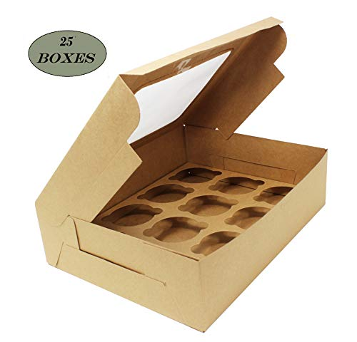 Premium Kraft Brown Bakery Boxes with Windows and Inserts for 12 Cupcakes, Muffins, Pastries, Baked Goods & Treats. Set of 25 -Take Out Box Containers. Ideal for Any Baker. 12.25 x 9.5 x 3.5 Inches