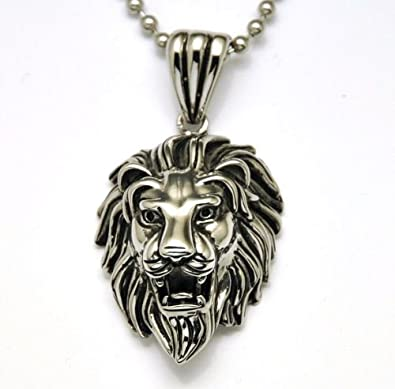 Lion head mens stainless steel pendant necklace gothic biker look lion head mens stainless steel pendant necklace gothic biker look with much sturdy chain 24inches aloadofball Image collections
