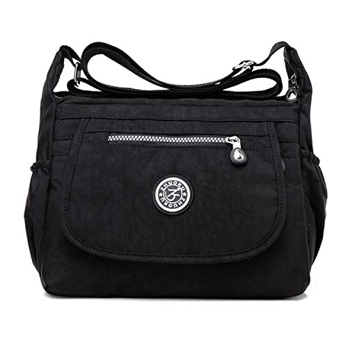 Women's Multi Pocket Crossbody Bag Casual Daypack Messenger Bag Travel Shoulder handbags Black 4