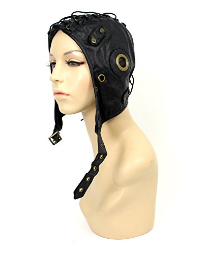 Aviator Hat with Metal Accents Black (One Size) ()