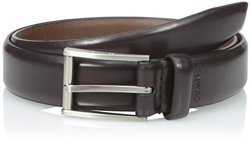 Calvin Klein Men's 31mm Feather Edge Semi Shine Belt, Brown, 42 (Brown Feather Edge)