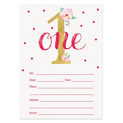 1st Birthday Invitations with Envelopes (Pack of 25) BIGGER 5x7