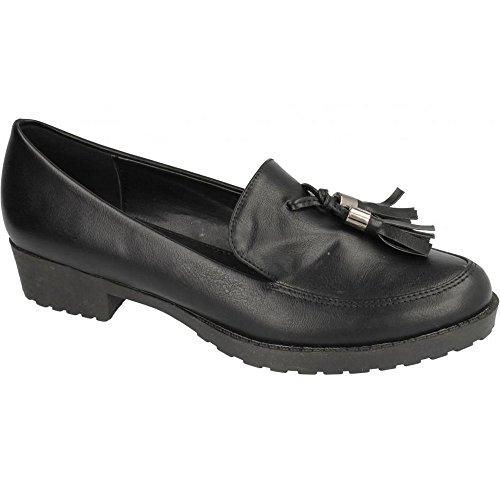 Spot On Childrens Girls Tassel Trim Flat Loafers (US Size 2 Junior) (Black) by Spot On