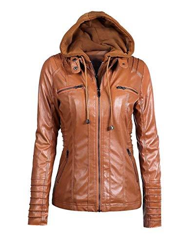 Mujer Biker Jacket Primavera Otoño Moda Casual Coat Outerwear Fashion De Tubo Hipster Outwear Suave Encapuchado Cazadoras Colores Sólidos Manga Larga Chaqueta Moto Braun