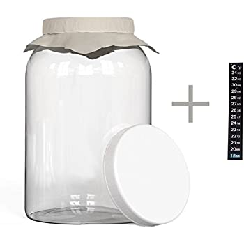 KombuJars Kombucha Jar 1 Gallon Glass Brewing Fermenting Storage Bottle, With Plastic Lid, Thermometer Adhesive Strip, Cloth Cover, and Band