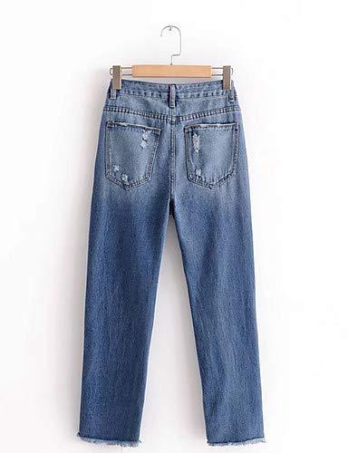 Jeans pour Chic Pantalon Street Couleur Unie YFLTZ Femme Blue PnqS5vIxw