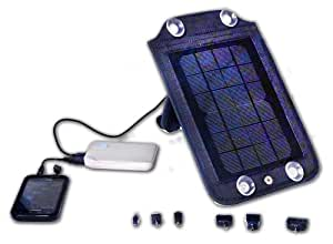 """SOLARBAK stand alone Solar Panel, charges mobile devices, attaches to car window etc. , 3.6 Watt, 5000 mAh Lithium Ion Battery, Great for Traveling with Power ... Black - """"Stay Charged my Friends"""""""