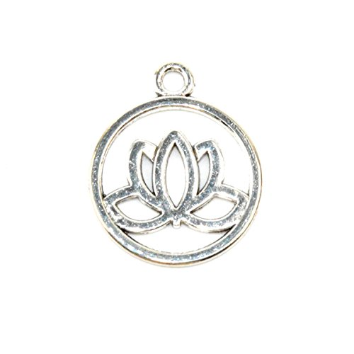 (Pack of 50 Lovely Round 20mm Lotus Flower Charms Pendants DIY Antique Charms Pendant (50 Lotus silver))