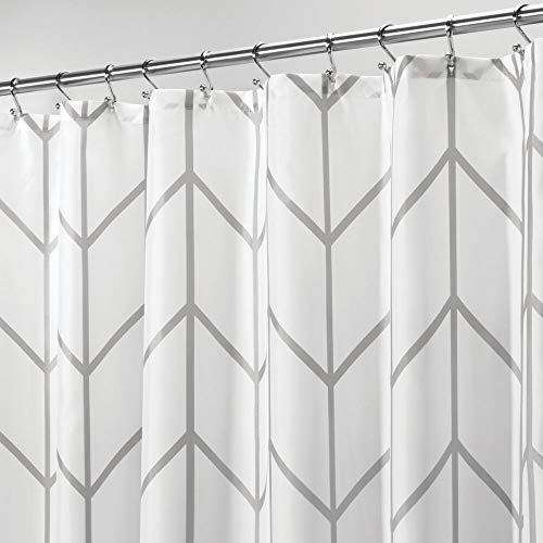 (mDesign Decorative Chevron Zig-Zag Print - Easy Care Fabric Shower Curtain with Reinforced Buttonholes, for Bathroom Showers, Stalls and Bathtubs, Machine Washable - 72