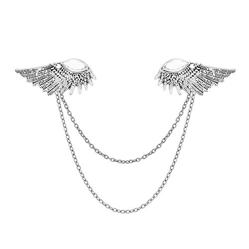 MUZHE Angle Wings Sweater Shawl Chain Clips Cardigan Collar Holder Brooch Pins Clip Wedding Fancy Clothing Accessories Gift -