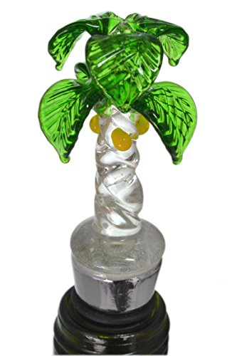 Tropical Hand Blown Art Glass & Stainless Steel Palm Tree Wine Bottle Stopper (Stoppers Blown Bottle Glass)