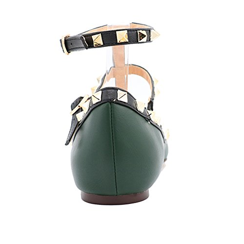 Women's Ballets,MERUMOTE Flats Shoes Ankle Straps Pointed Toe Rivets Ballet Flats Green-matte