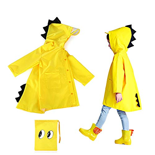 SSAWcasa Rain Coat for Kids Girl,Toddler Boy Dinosaur Raincoat Jacket Poncho Rainwear with Hood (Yellow, M)