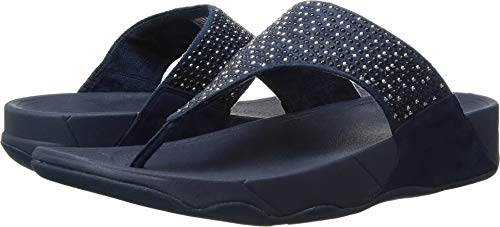 FitFlop Women's Lulu Popstud Flip Flop Sandal, Midnight Navy, 9 M (Mix Flip Flops Thong Sandals)