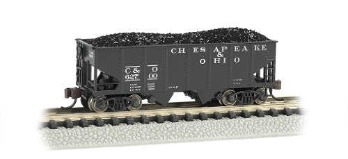 Bachmann Industries USRA 55-Ton 2-Bay Hopper C and O Train Car, N Scale