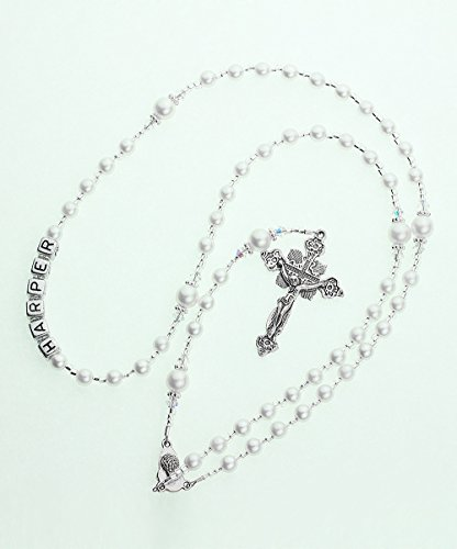 Crystal Dream Personalized Name White Christening Luxury Silver Child Keepsake Rosary with Acrylic Silver Letters (RNW-N)