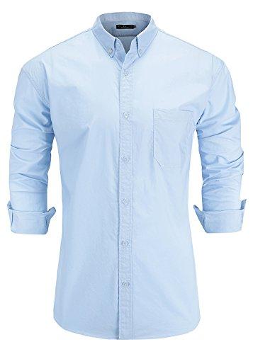 Emiqude Men's 100% Oxford Cotton Slim Fit Long Sleeve Button Down Solid Dress Shirt Medium Light ()