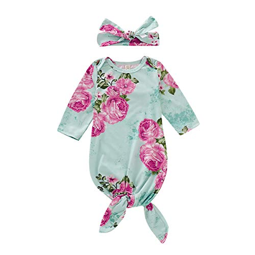 WESIDOM Newborn Baby Floral Sleeping Gown Bag with Headband,Infant Coming Home Outfit Swaddle Wear Green