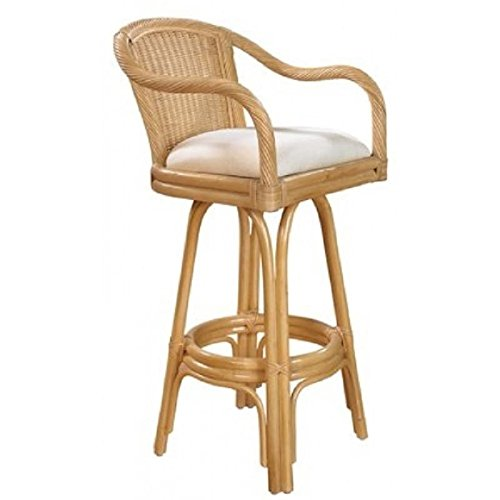 Hospitality Rattan Key West Indoor Swivel Natural Finish Rattan and Wicker 24-inch Counter Stool with Cushion