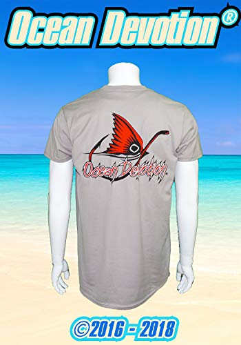 Redfish Fin & Hook - Ocean Devotion - Vintage Grey - L Men's T-Shirt 100% Cotton-Keywords. Surfing, Fishing, Guy Harvey, Paddle Board, Offshore, t shirt, Salt Life, Reel, Beach Life, Surf Life