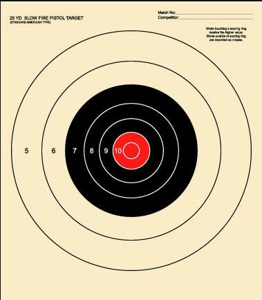 B-16 Practice Target, 25 Yard Slow Fire Pistol, Red Center (100) from National Target