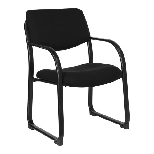 Offex BT-508-BK-GG Executive Side Chair with Sled Base, Black Fabric