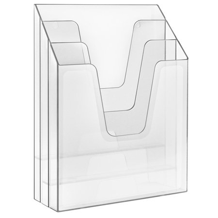 Acrimet Vertical Triple File Folder Organizer (Clear Crystal Color)