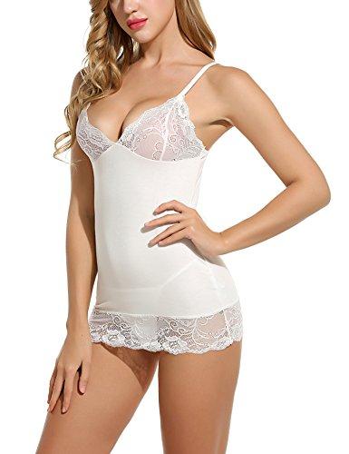 ADOME Sleepwear Women V Neck Chemise Nightgown Lace Lingerie Full Slip Dress (XXL, White(Order 1 Size up))