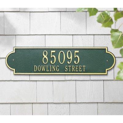 (Whitehall Products Richmond Rectangular Bronze/Gold Estate Wall Two Line Horizontal Address Plaque)