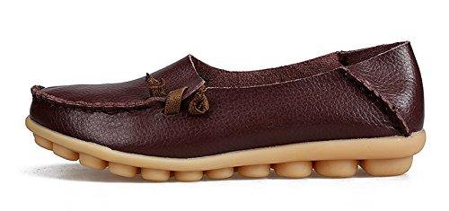 Venuscelia Mujeres Comfort Walking Cute Flat Loafer Marrón