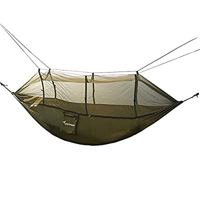 Sportneer Camping Hammock w/ Mosquito Net, Parachute Fabric Double Hammock For Outdoor Travel Indoor Camping Hiking