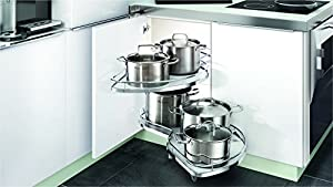"""Lazy Susan Leman Kitchen Cabinet 2 Tier Organizer from Villè Home Kitchen Accessories Right Handed Soft Close Anti Slip and Waterproof Swing Out Blind Corner unit from 45"""" to 48"""""""