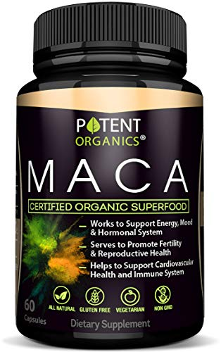 100% Organic Maca Extract 750mg - 60 Capsules - Natural Peruvian Maca Root Powder Supplement - Promotes Energy & Immune Health - Balances Hormones - Pure Extract for Men & Women