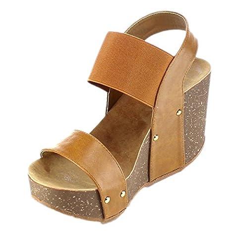 Refresh Women's Mara-10 Platform Cork Wedge High Heel Leather Sandal,6.5 B(M) US,Tan - Cork Platform Sandals