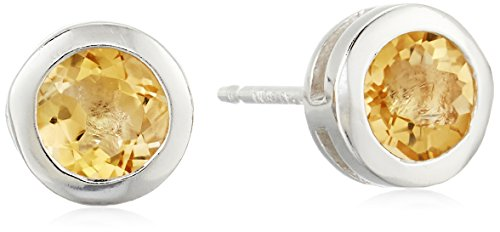Sterling Silver Genuine Citrine 5mm Bezel Set November Birthstone Stud Earrings